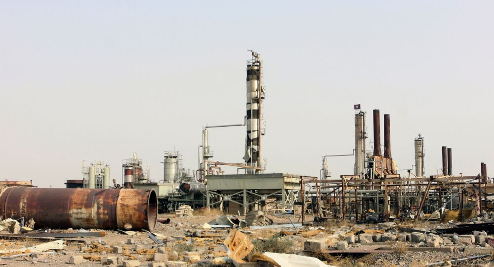 Destruction at Beiji oil refinery during the military operations, some 250 kilometers (155 miles) north of Baghdad, Iraq, Thursday, Oct. 22, 2015.
