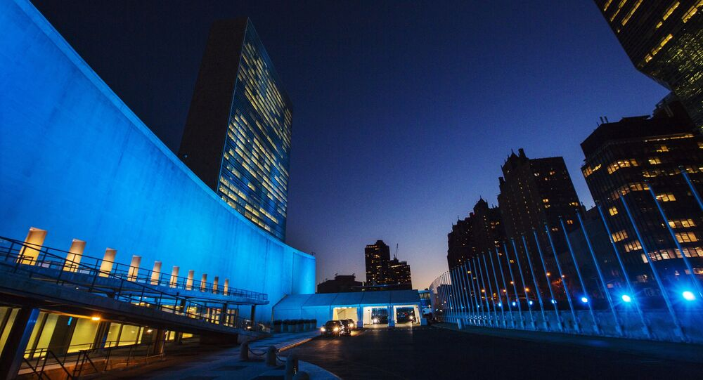 The United Nations headquarters is lit up in blue to honor the 70th anniversary of the United Nations in New York, October 23, 2015