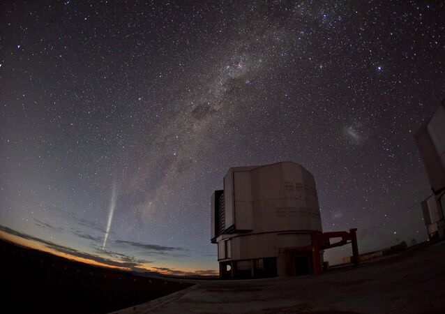 A handout photo provided on December 24, 2011 by the European Southern Observatory (ESO) shows the recently discovered Comet Lovejoy being captured in stunning photos and time-lapse video taken on December 22 from ESO's Paranal Observatory in Chile