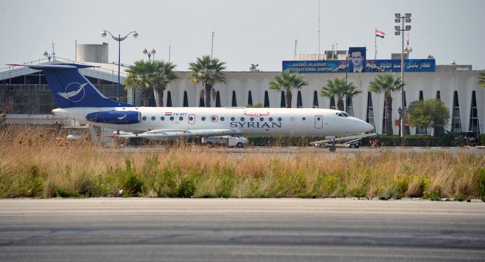 Russian Airlines jet at the airport in Latakia