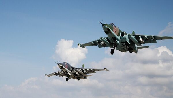 Su-25 jets of the Russian Aerospace Forces at the Hmeymim airbase, Syria - Sputnik International