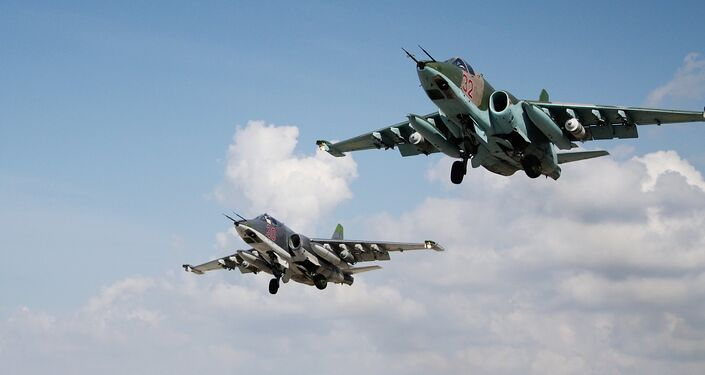 Su-25 jets of the Russian Aerospace Forces at the Hmeymim airbase, Syria