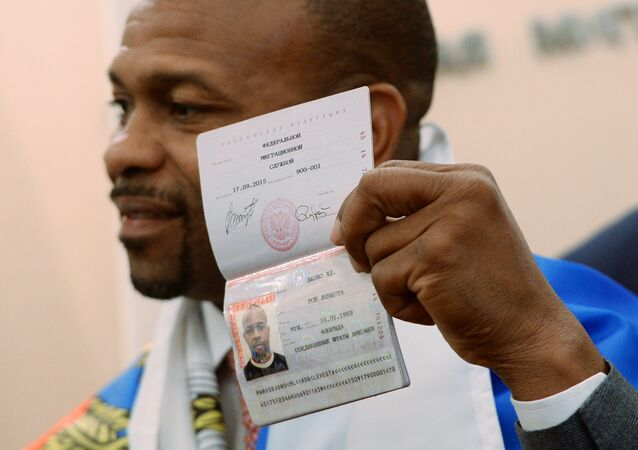 Boxer Roy Jones Jr. who has received a Russian passport at a local division of the Russian Federal Migration Service