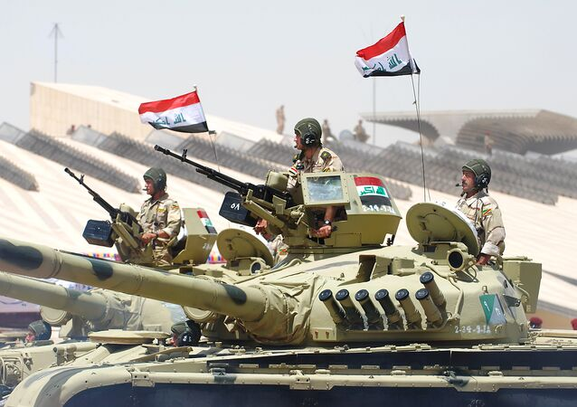 Iraqi T-72s pass in review in Baghdad. (File)