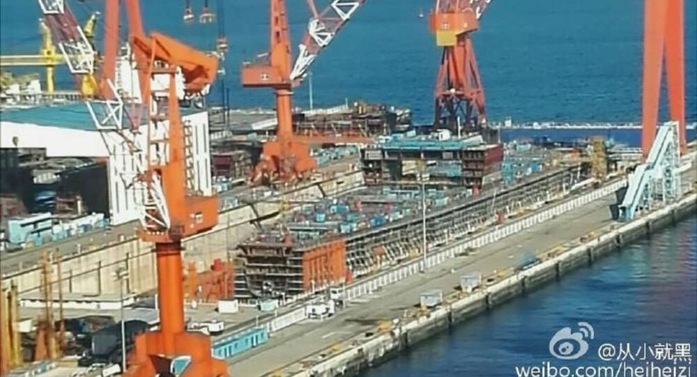This hull under construction at Dalian Shipyard could be China's first indigenous aircraft carrier.