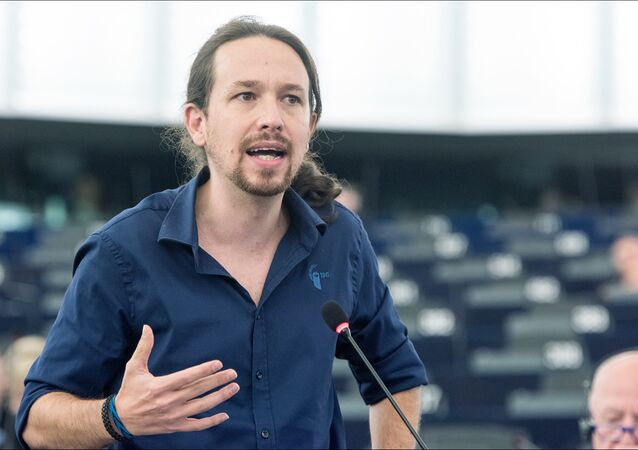 Leader of Spanish anti-austerity party Podemos Pablo Iglesias