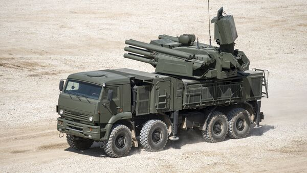 Pantsir-S1 antiaircraft gun / surface-to-air missile system displayed in the run-up to the Army-2015 international military-technical forum in the Moscow Region - Sputnik International