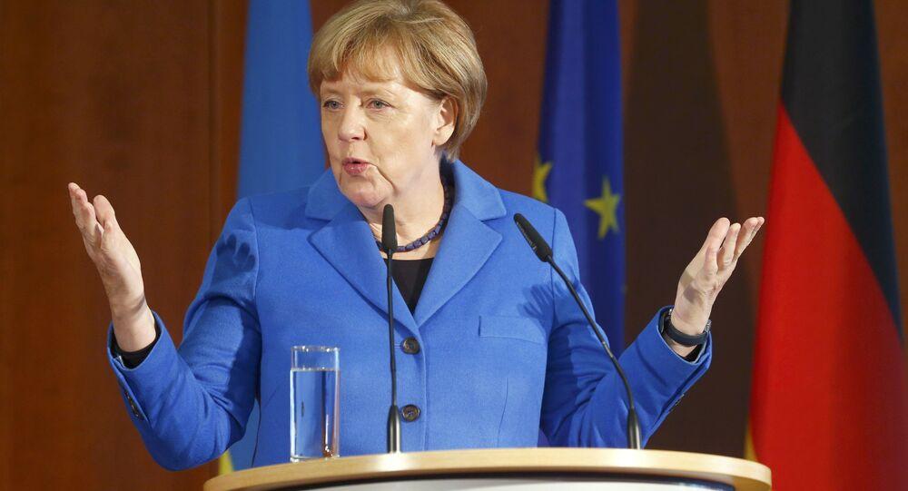 German Chancellor Angela Merkel addresses a Ukrainian-German economic conference in Berlin, Germany, October 23, 2015.
