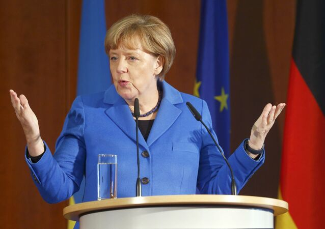 German Chancellor Angela Merkel addresses a Ukrainian-German economic conference in Berlin, Germany, October 23, 2015.