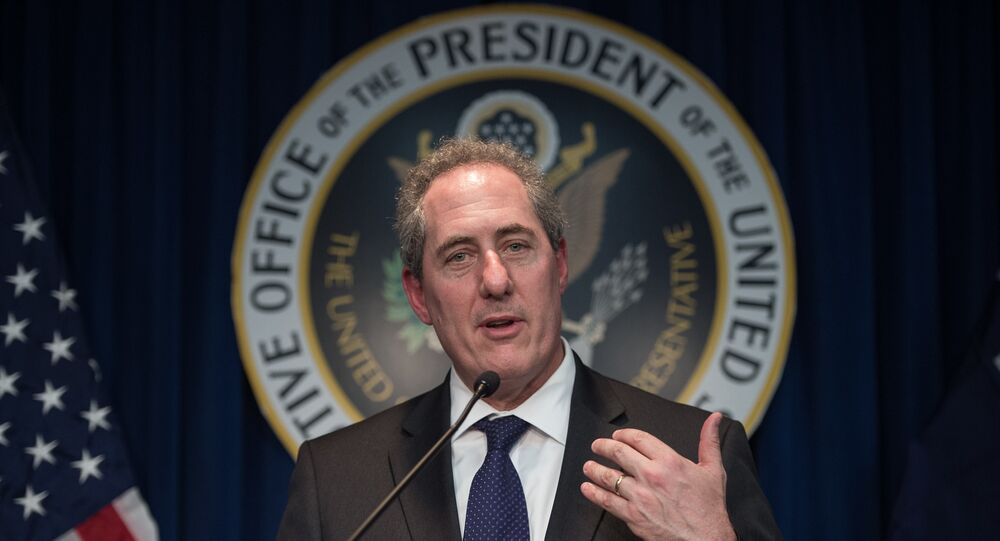 US Trade Representative Michael Froman speaks at a press conference in Washington, DC on March 18, 2015.