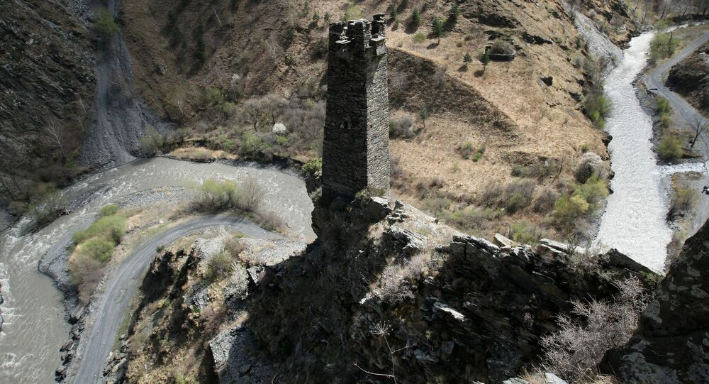 The guard tower at the Tsoi-Pede Necropolis in the Argunsky nature reserve, Itum-Kalinsky District, Chechen Republic, near the Georgian border