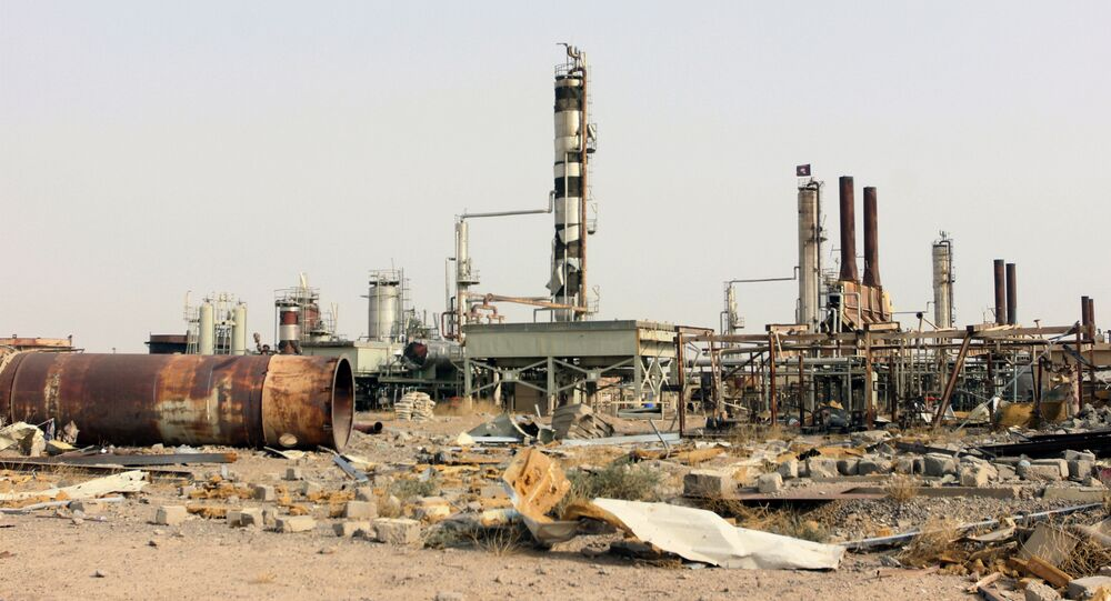 Destruction at Beiji oil refinery during the military operations, some 250 kilometers (155 miles) north of Baghdad, Iraq, Thursday, Oct. 22, 2015