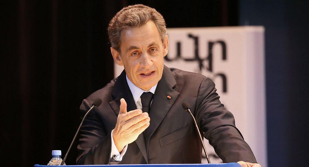 France's former President Nicolas Sarkozy gives speech to MGIMO University students