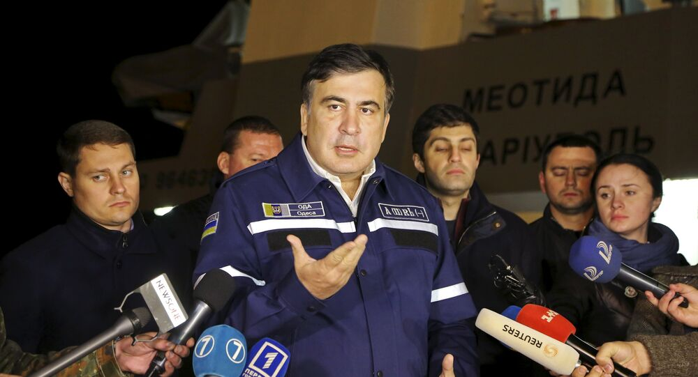 Odessa's governor Mikheil Saakashvili speaks the site of a recovery operation near Odessa, Ukraine, October 17, 2015