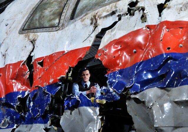 Реконструкция крушения лайнера Boeing 777 Malaysia Airlines (рейс MH17) на Востоке Украины 17 июля 2014 года на военной базе Гилзе-Рейен в Нидерландах