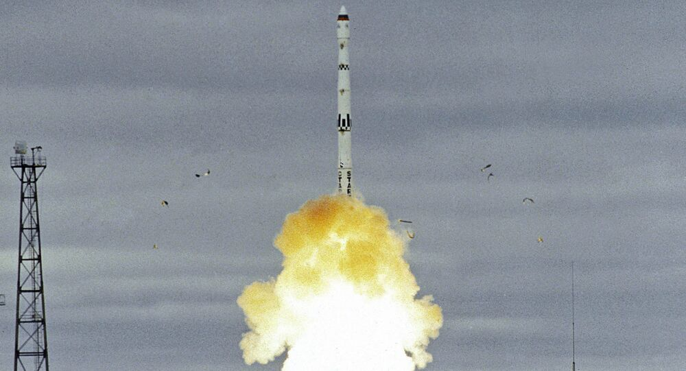 The launch of a Start-1 intercontinental ballistic missile based on Topol missile. The Plesetsk cosmodrome in the Arkhangelsk Region