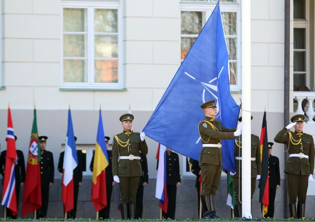 Lithuanian soldiers raise the NATO and Lithuanian flags during a ceremony to mark the 10th anniversary of Lithuania joining the NATO military alliance, in Vilnius on March 29, 2014.