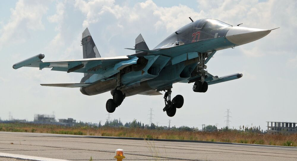 Russian Su-34 fullback bomber jet lands at Latakia airport, Syria