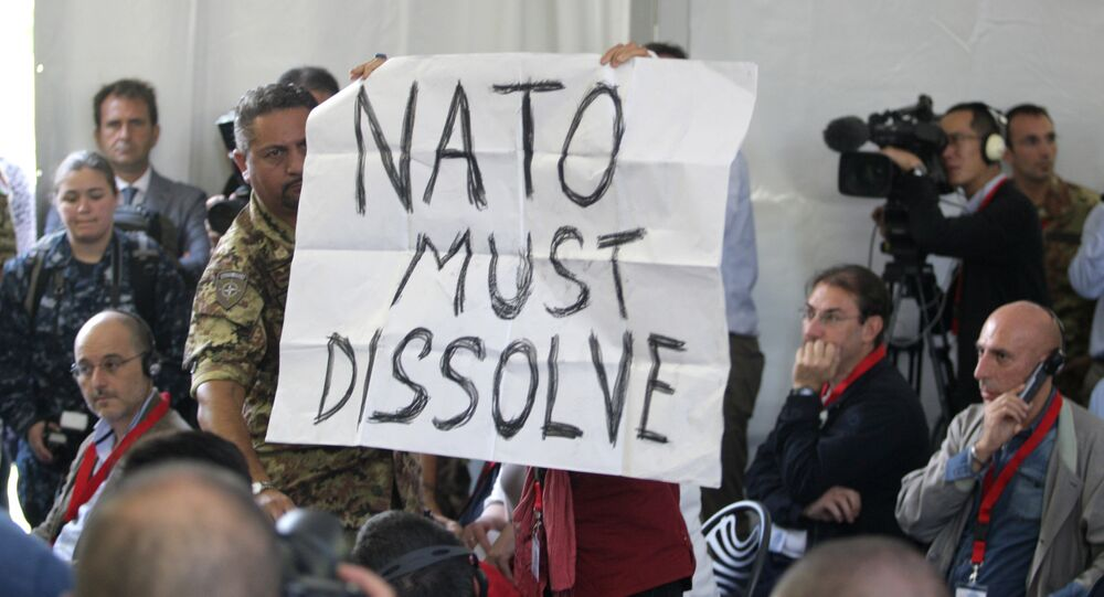 A protestor shows a poster reading Nato Must Dissolve during a press conference following the opening ceremony of NATO's large scale exercise Trident Juncture 2015 at the Italian Air Force Base in Trapani, Sicily