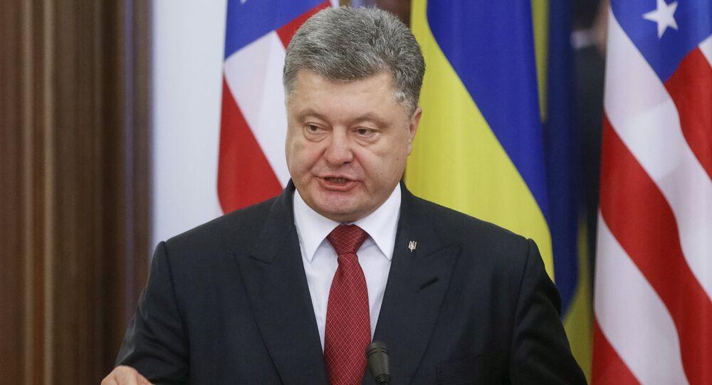 Ukraine's President Petro Poroshenko, accompanied by U.S. Commerce Secretary Penny Pritzker (not pictured), speaks during a news briefing in Kiev, Ukraine, October 26, 2015