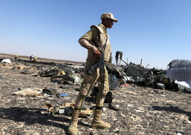 An Egyptian army soldier stands guard near debris from a Russian airliner at its crash siteat the Hassana area in Arish city, north Egypt, November 1, 2015