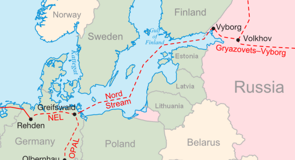 Map of Nord Stream, which runs from Russia's Vyborg through the Baltic Sea to Greifswald, northeastern Germany.