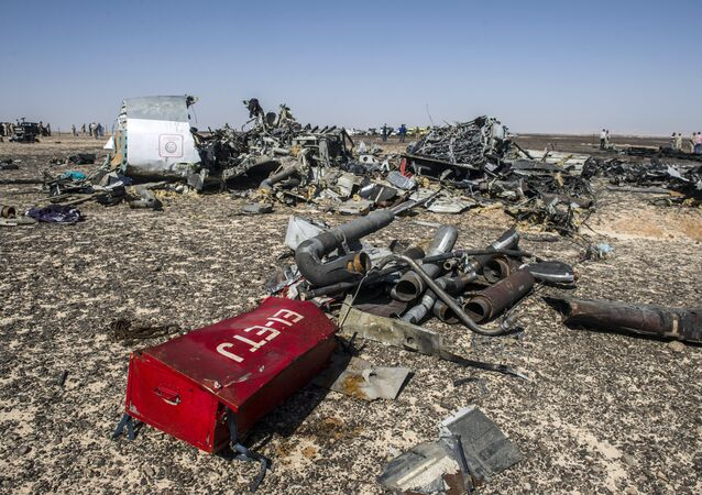 Debris belonging to the A321 Russian airliner are seen at the site of the crash in Wadi el-Zolmat, a mountainous area in Egypt's Sinai Peninsula on November 1, 2015