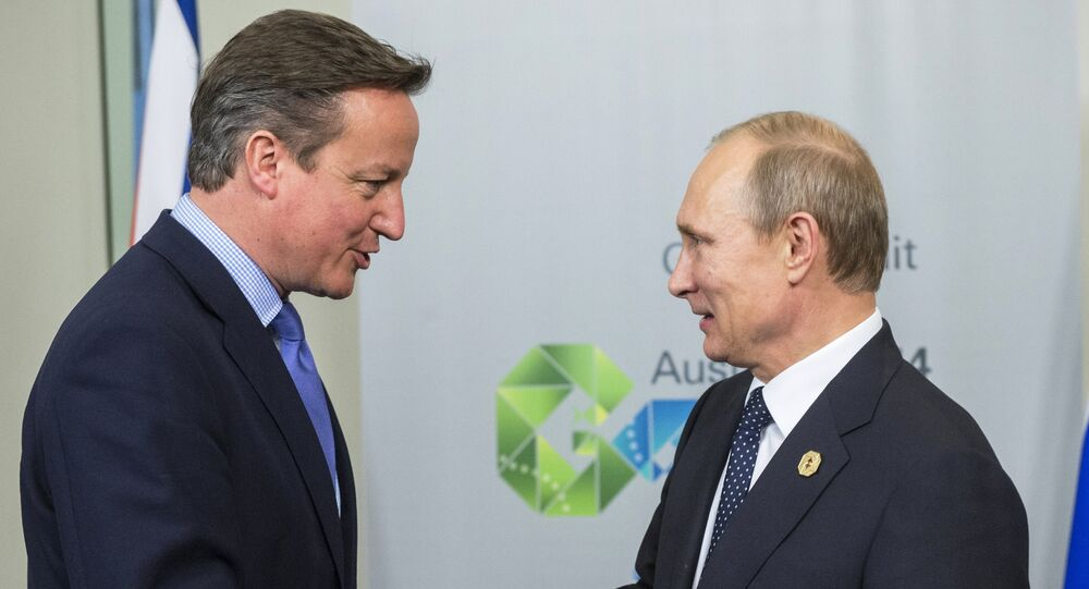 November 15, 2014. Russian President Vladimir Putin, right, and Prime Minister of the United Kingdom of Great Britain and Northern Ireland David Cameron.
