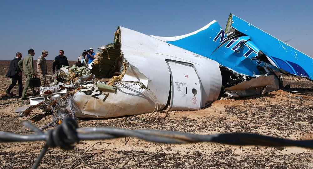 The wreckage of Kogalymavia's Airbus A321 passenger airliner