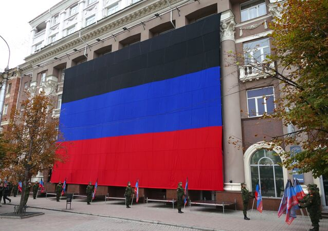 A flag on a building during the celebration of Flag Day in the Donetsk People's Republic.