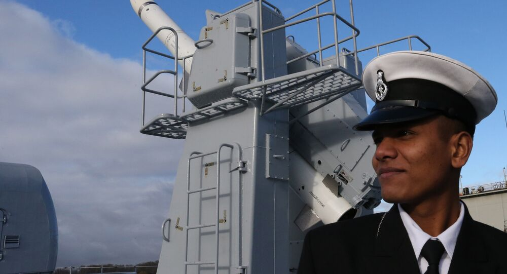 Duty officer at the supersonic Bramas missile system on board the frigate Tarkash (Quiver) after the formal ceremony transferring the ship to the naval forces of India at the pier of the Baltic Shipyard Yantar factory.