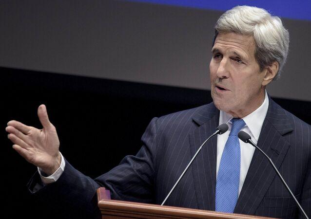 US Secretary of State John Kerry speaks at Nazarbayev University on November 2, 2015 in Astana.