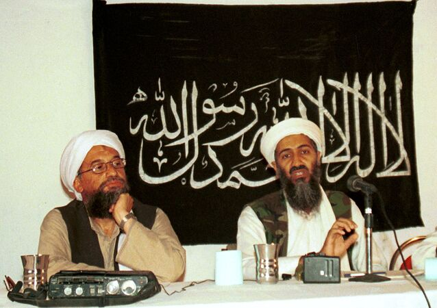 Ayman al-Zawahri, left, holds a press conference with Osama bin Laden in Khost, Afghanistan in 1998.