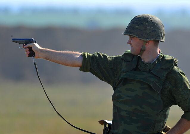 Soldier takes part in exercises with the Operational group of Russian Forces in the Transnistrian region of Moldova.