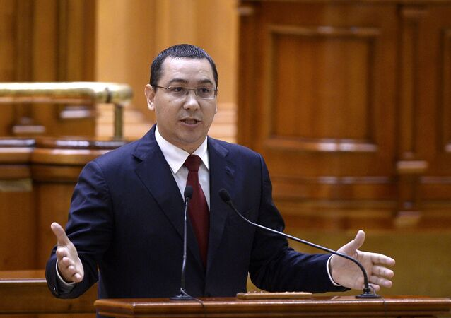 Romanian Prime Minister Victor Ponta addresses Parliament before a non-confidence vote in Bucharest, Romania in this September 29, 2015 file photo.