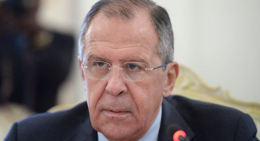 Russian Foreign Minister Sergey Lavrov meets with Jean-Claude Gakosso