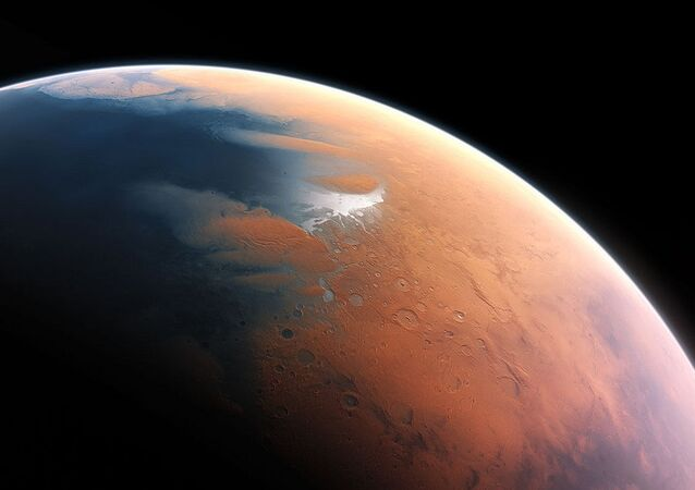 An artist's impression shows how Mars may have looked about four billion years ago.
