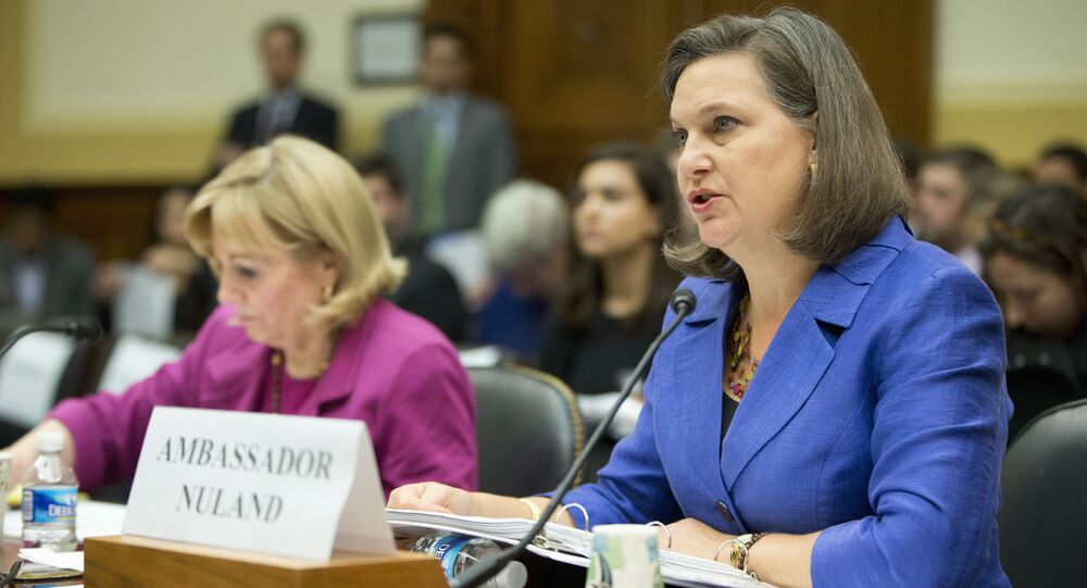 Assistant Secretary for European and Eurasian Affairs Victoria Nuland, right, accompanied Assistant Secretary of State for Near Eastern Affairs Anne Patterson, testifies on Capitol Hill in Washington, Wednesday, Nov. 4, 2015, before the House Foreign Affairs Committee hearing on Syria.