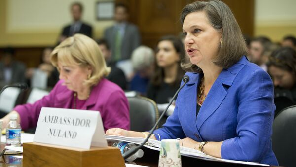 Assistant Secretary for European and Eurasian Affairs Victoria Nuland, right, accompanied Assistant Secretary of State for Near Eastern Affairs Anne Patterson, testifies on Capitol Hill in Washington, Wednesday, Nov. 4, 2015, before the House Foreign Affairs Committee hearing on Syria. - Sputnik International