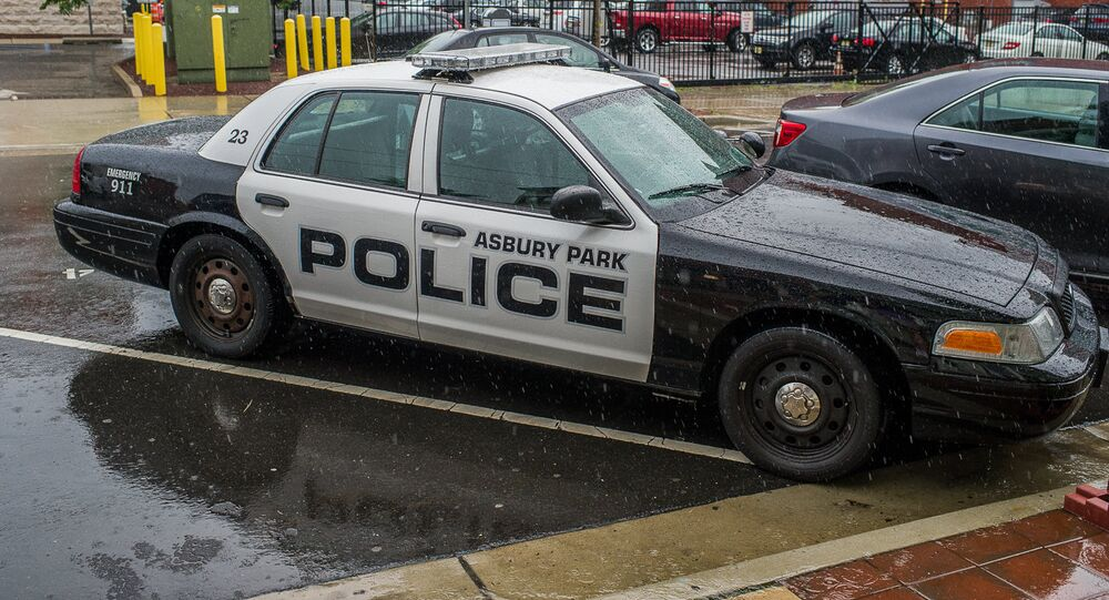 Police car in the rain, Asbury Park, New Jersey