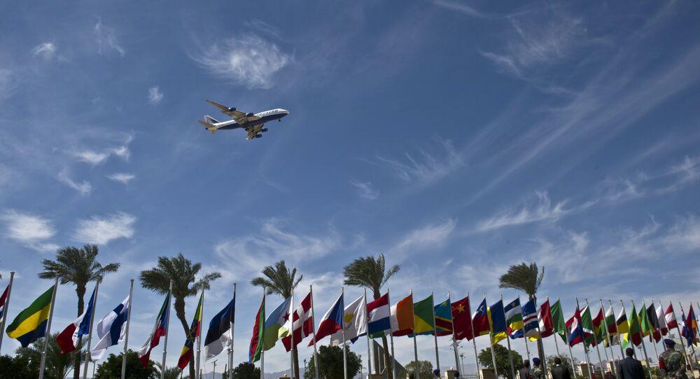 An airplane arrives at Sharm el-Sheikh airport