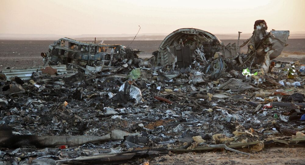 Fragments of a Kogalymavia Airbus A321 passenger airliner / Flight 9268 that crashed en route from Sharm El Sheikh to St. Petersburg in Egypt's North Sinai Governorate