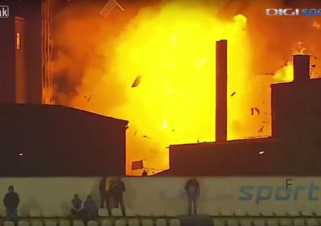 Bread factory explosion during broadcast of live soccer match