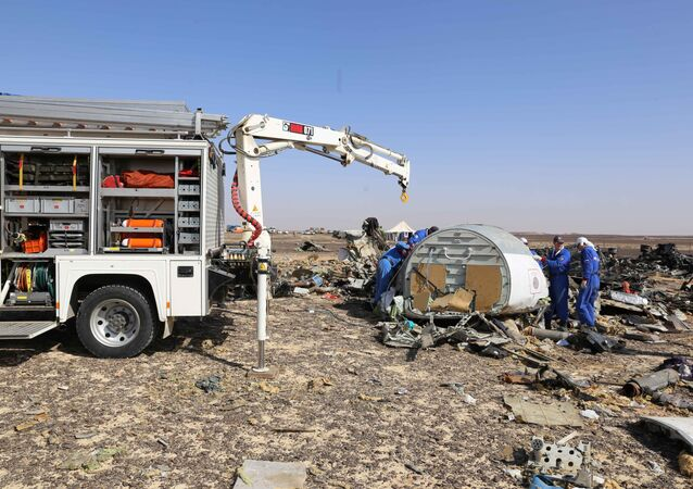In this Russian Emergency Situations Ministry photo, made available on Monday, Nov. 2, 2015, Russian Emergency Ministry experts work at the crash site of a Russian passenger plane bound for St. Petersburg in Russia that crashed in Hassana, Egypt's Sinai Peninsula, on Monday, Nov. 2, 2015