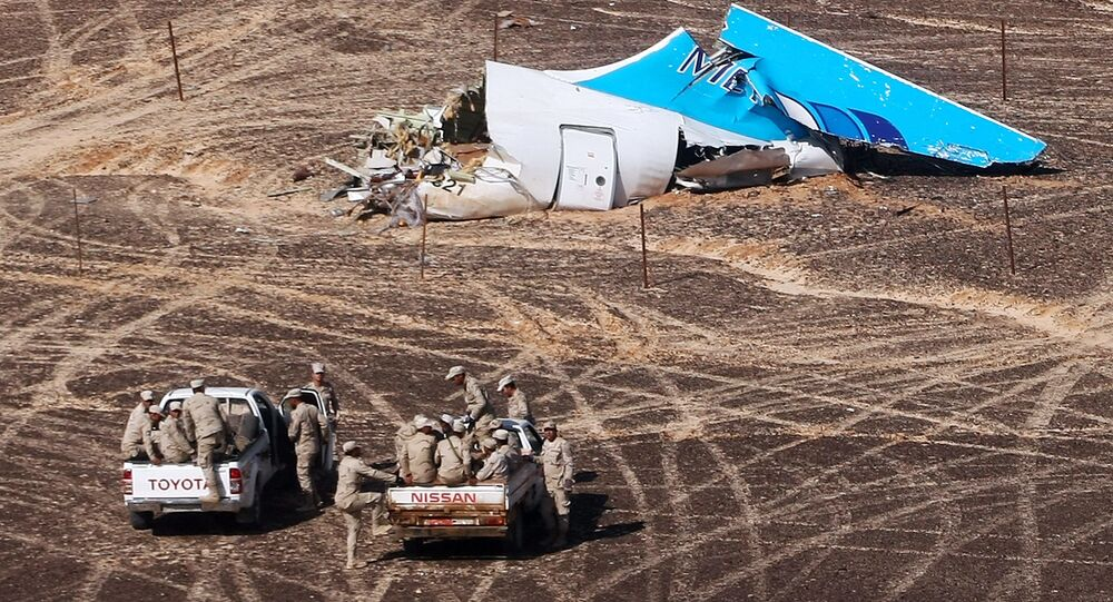 The A321 crash site in Egypt.