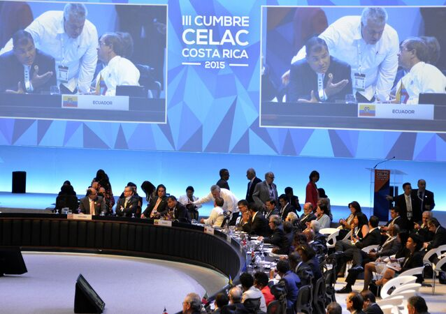 Presidents and leaders of Latin America and the Caribbean are seen during the closing session of the III CELAC Summit 2015 in the Pedregal building, 20 km northwest of San Jose, on January 29, 2015