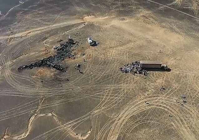 A view from a drone at the Russian Emergencies Ministry camp by the crash site of the Russian Airbus A321 (owned by Kogalymavia) that performed flight 9268 from Sharm el-Sheikh to St Petersburg. The crash site is 100 km away from El Arish in the north of the Sinai Peninsula. Best possible quality. (Freeze frame)