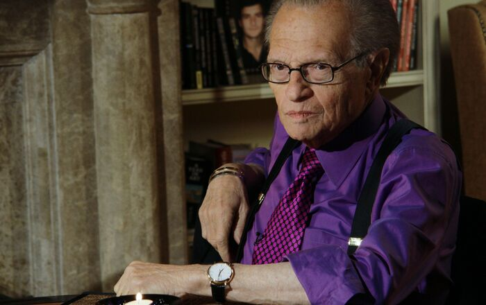 Famous American TV personality Larry King at the Soho club in Moscow before he interviewed Russian presidential aide Arkady Dvorkovich, president of the Skolkovo fund and Board of Directors Chairman of Renova group Viktor Vekselberg, and editor-in-chief of Echo Moskvy radio station Alexei Venediktov (left to right) before the interview. Larry King ended his CNN interview program last December after 25 years