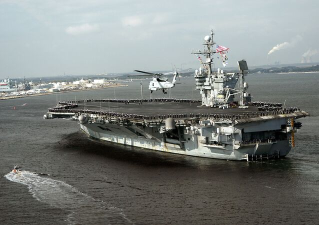 This 13 December, 2004 US Navy handout image shows the conventionally powered aircraft carrier USS John F. Kennedy (CV 67) as she returns to her homeport of Mayport, Florida