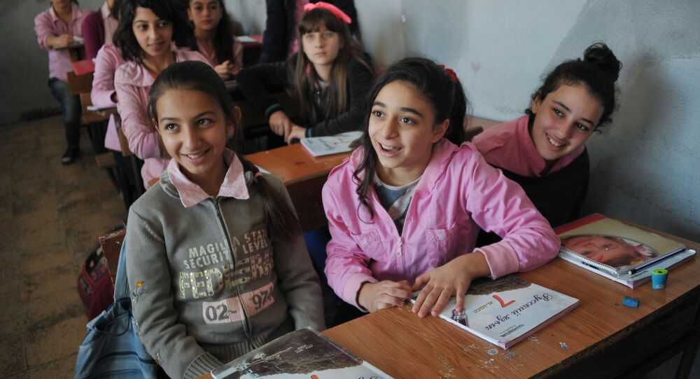 Girls at a school in Latakia studying the Russian language.